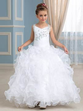 Ericdress Straps Beading Ball Gown Flower Girl Dress