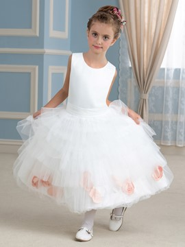 Ericdress Classical Jewel A Line Tea Length Flower Girl Dress