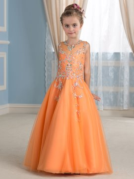 Ericdress Beautiful Beading Jewel Sleeveless A Line Flower Girl Dress