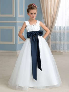 Ericdress Casual Straps Bowknot Floor Length Flower Girl Dress