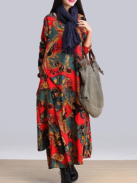 Ericdress Print Asymmetric Maxi Dress