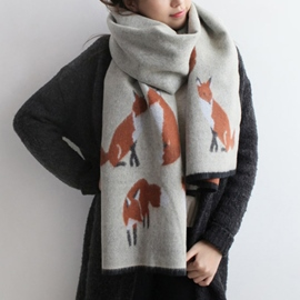 Ericdress Fox Print Tassel Loop Scarf