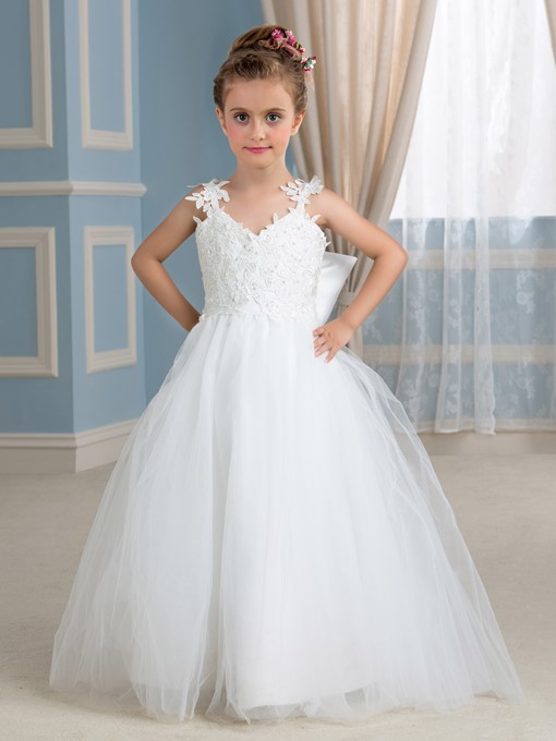 Ericdress Straps Appliques Bowknot Flower Girl Dress