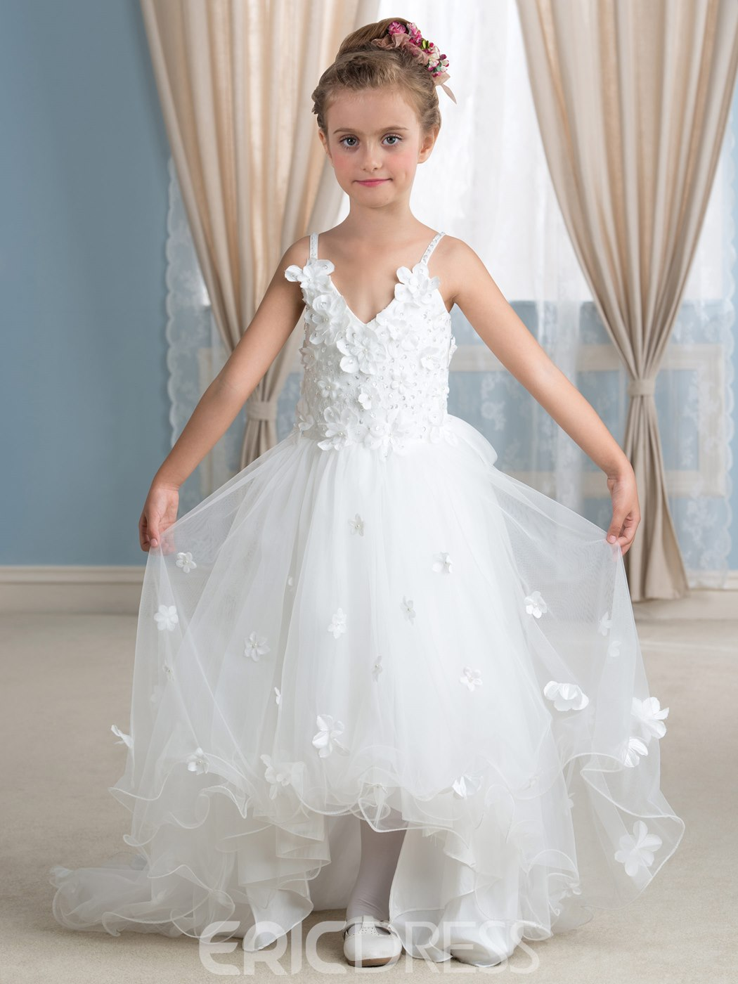 Ericdress 3DFloral Appliques Asymmetry Flower Girl Dress