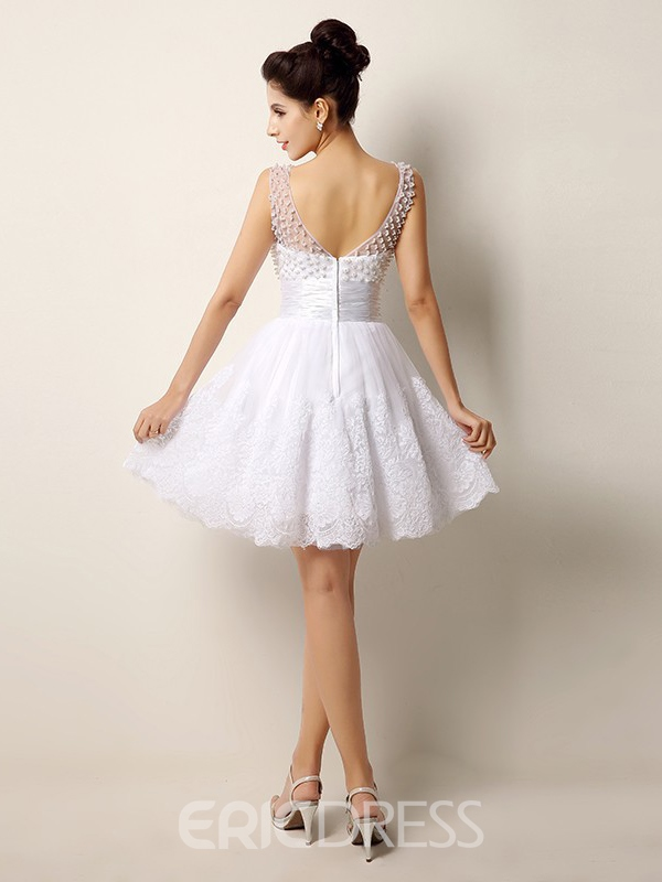 Ericdress Pretty Scoop Pearls Appliques Short Wedding Dress