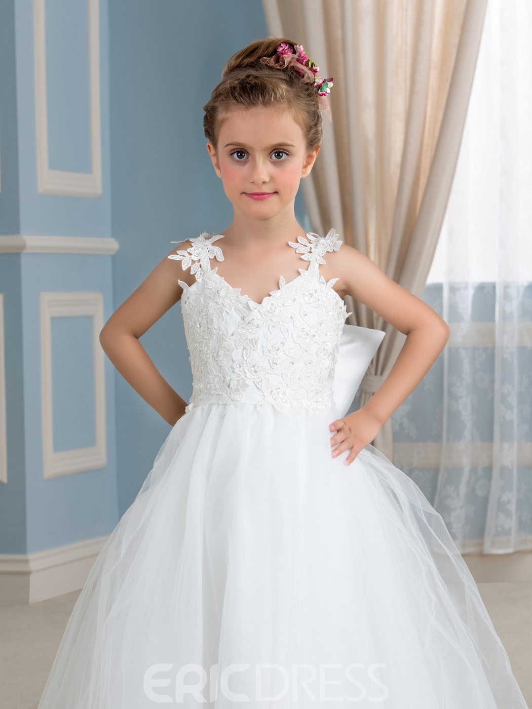 Ericdress Beautiful Spaghetti Straps Bowknot Tulle Flower Girl Dress