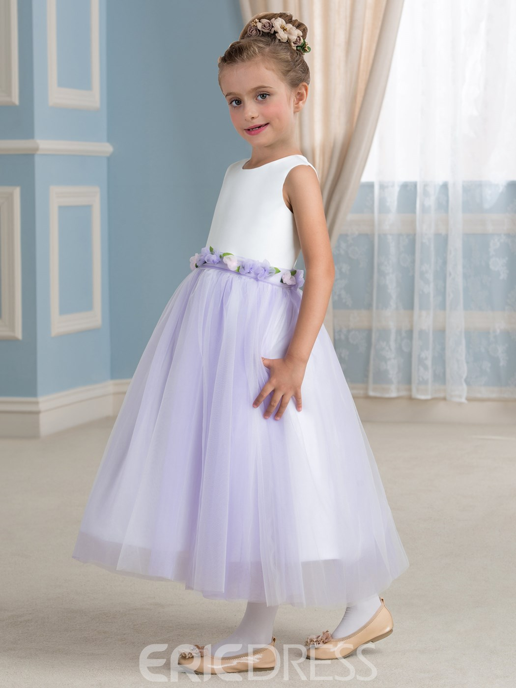 Ericdress Beautiful A Line Sleeveless Tulle Flower Girl Dress