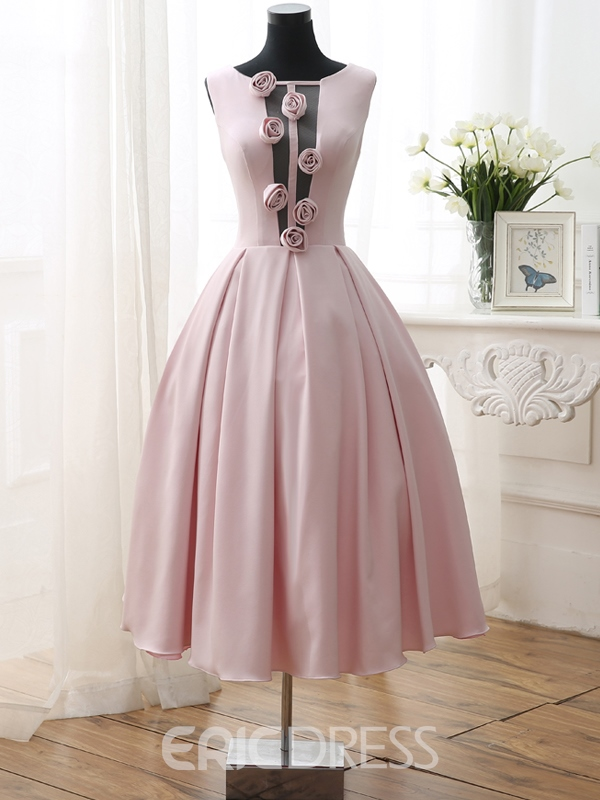 Ericdress A-Line Flowers Tea-Length Open Back Prom Dress