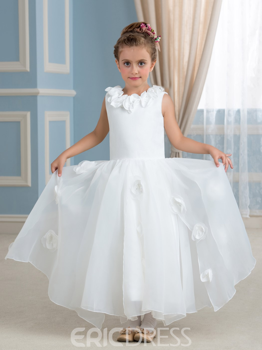 Ericdress High Quality Flowers Jewel A Line Flower Girl Dress