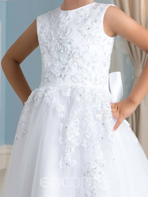 Ericdress High Quality Floor Length Appliques A line Flower Girl Dress