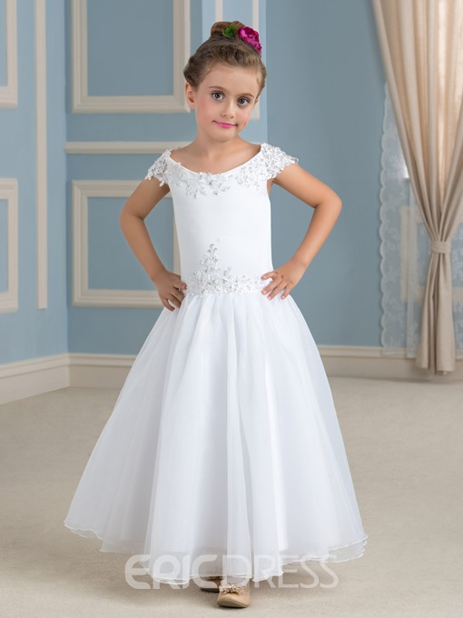 Ericdress Off The Shoulder Appliques Beading Flower Girl Dress