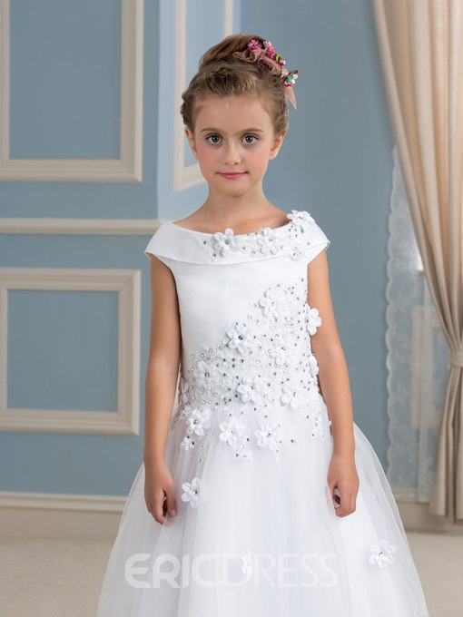 Ericdress Lace-Up Appliques Beading Flower Girl Dress