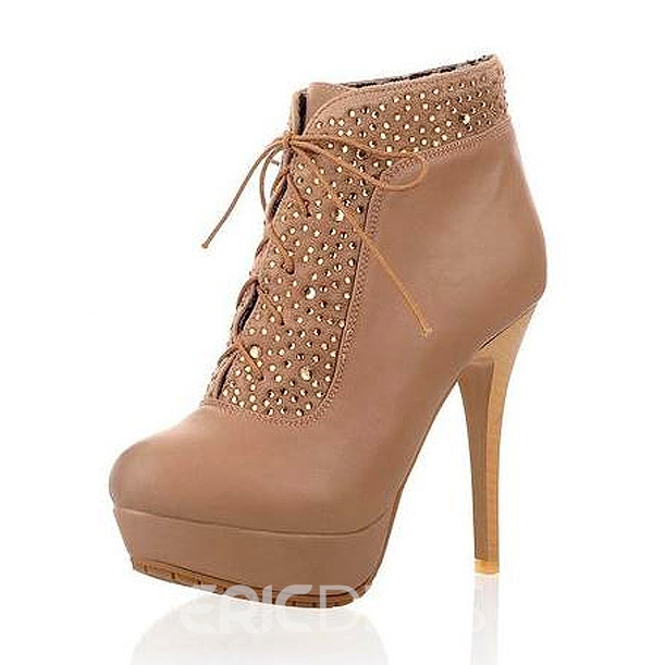 Rhinestones stiletto heel two ways of wear style beige shoes
