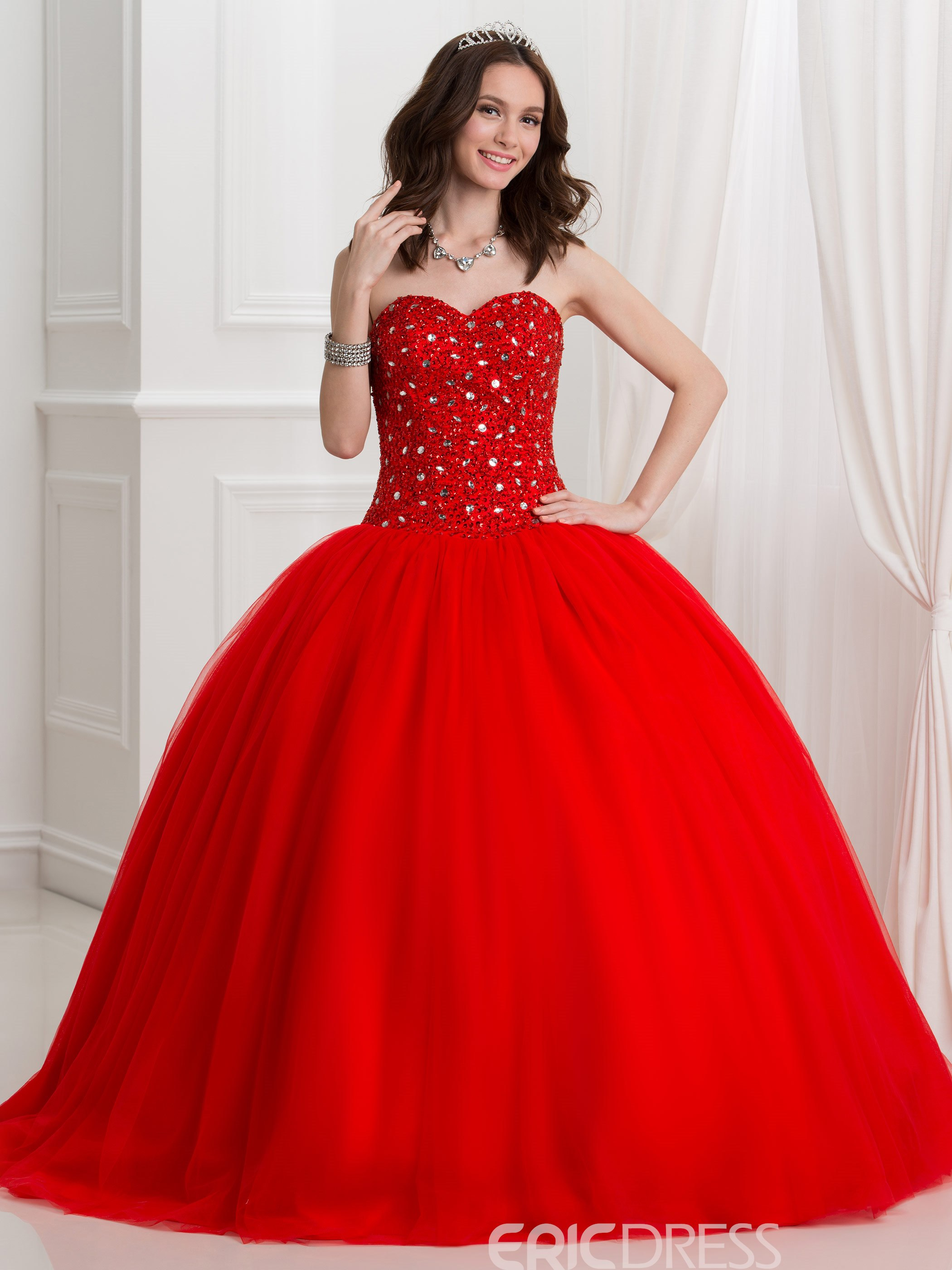 f1857f3388cf Ericdress Sweetheart Beading Sequins Ball Gown Quinceanra Dress