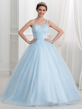 Ericdress One Shoulder Sweetheart Ball Quinceanera Dress With Appliques Sequins