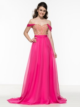 Ericdress Off the Shoulder Beading Lace Long Prom Dress