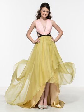Ericdress V-Neck Beaded Hollow Asymmetrical Prom Dress