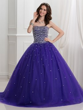 Ericdress Strapless Beaded Lace-Up Ball Gown Quinceanera Dress