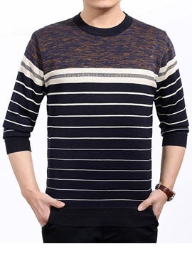 Ericdress Color Block Stripe Slim Men's Sweater