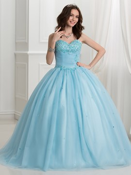 Ericdress Sweetheart Lace Appliques Beading Ball Quinceanera Dress
