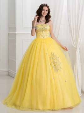 Ericdress Strapless Beaded Sequins Ball Quinceanera Dress