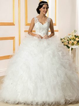 Ericdress Luxury V Neck Beading Ball Gown Wedding Dress