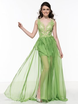 Ericdress Sheer Back Appliques Split-Side Prom Dress