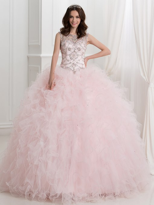 Ericdress Jewel Neck Beading Open Back Ball Gown Quinceanera Dress