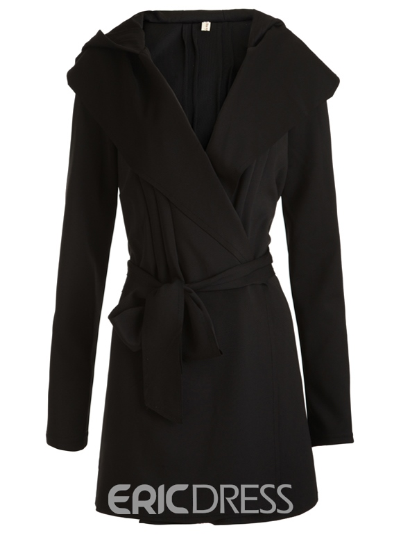 Plain black trench coat