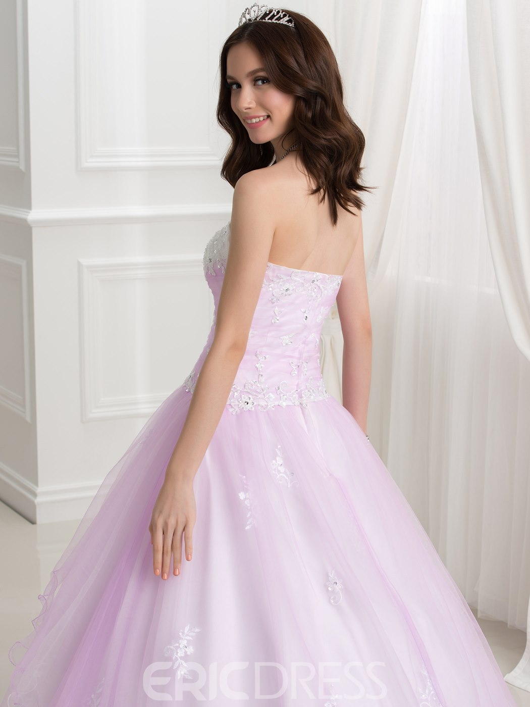 Ericdress Appliques Sequins Strapless Ball Gown Quinceanera Dress