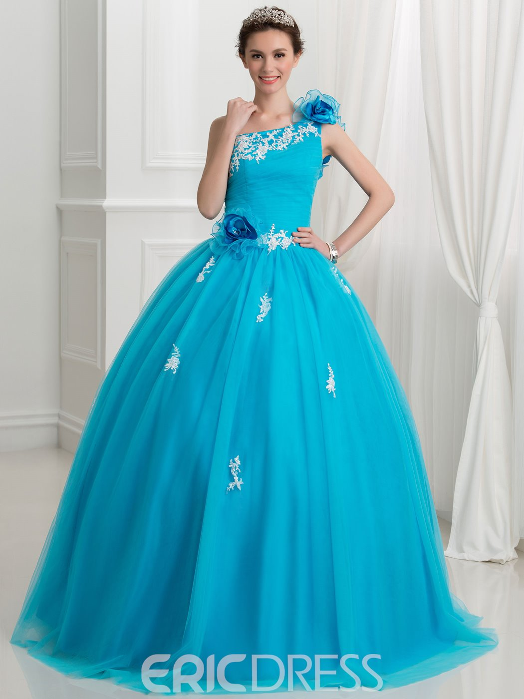 Ericdress One Shoulder Appliques Flowers Ball Gown Quinceanera Dress