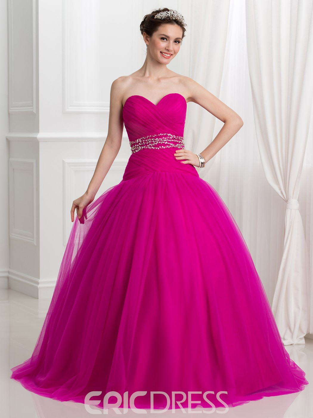 Ericdress Sweetheart Beading Pleats Lace-Up Quinceanera Dress