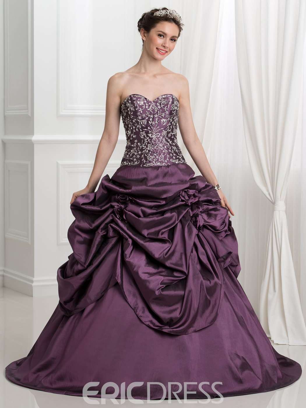 Ericdress Sweetheart Pick-Ups Embroidery Sequins Ball Gown Quinceanera Dress