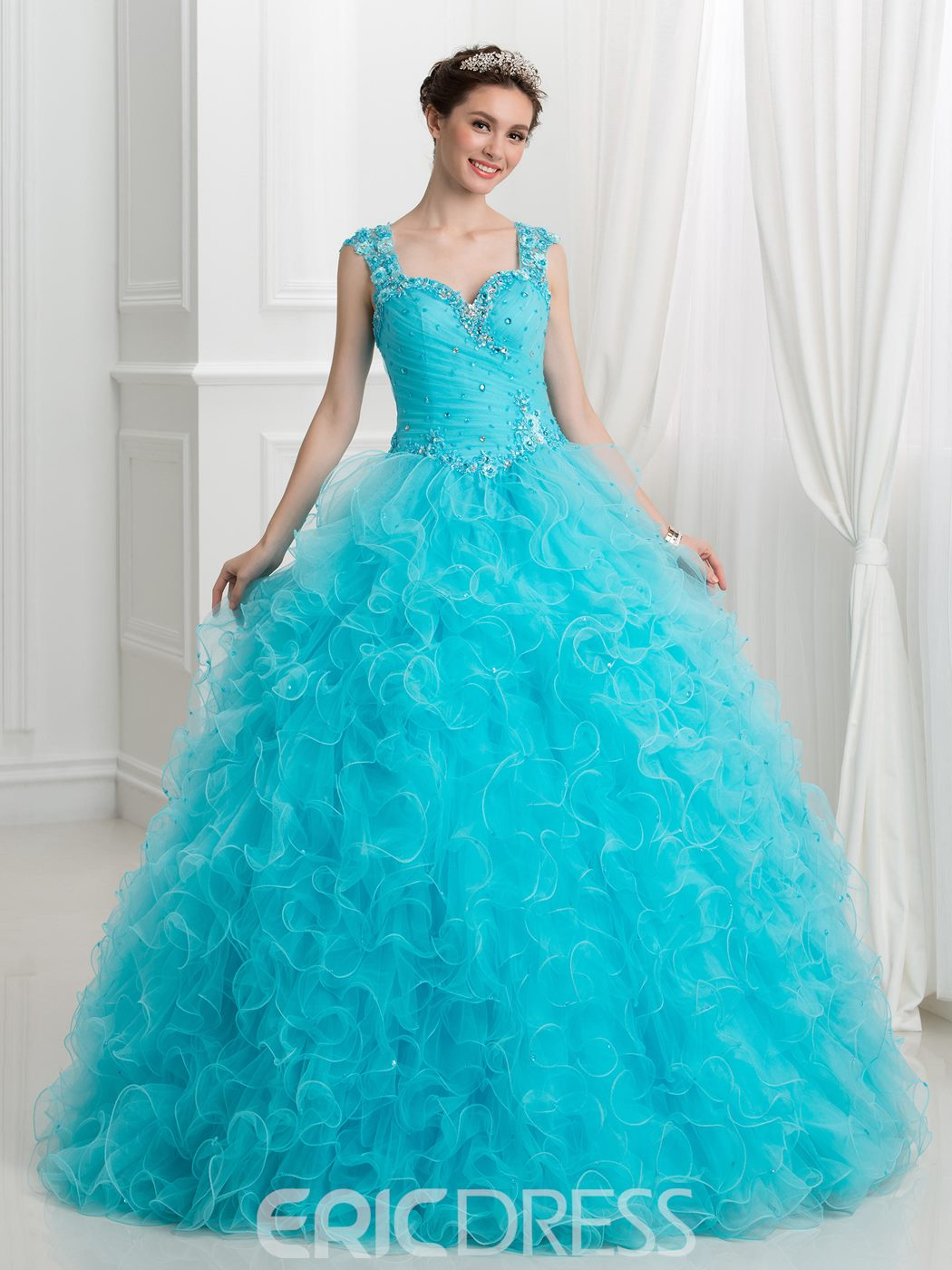 33b26cbc54 Ericdress Sweetheart Appliques Beaded Ball Gown Quinceanera Dress ...