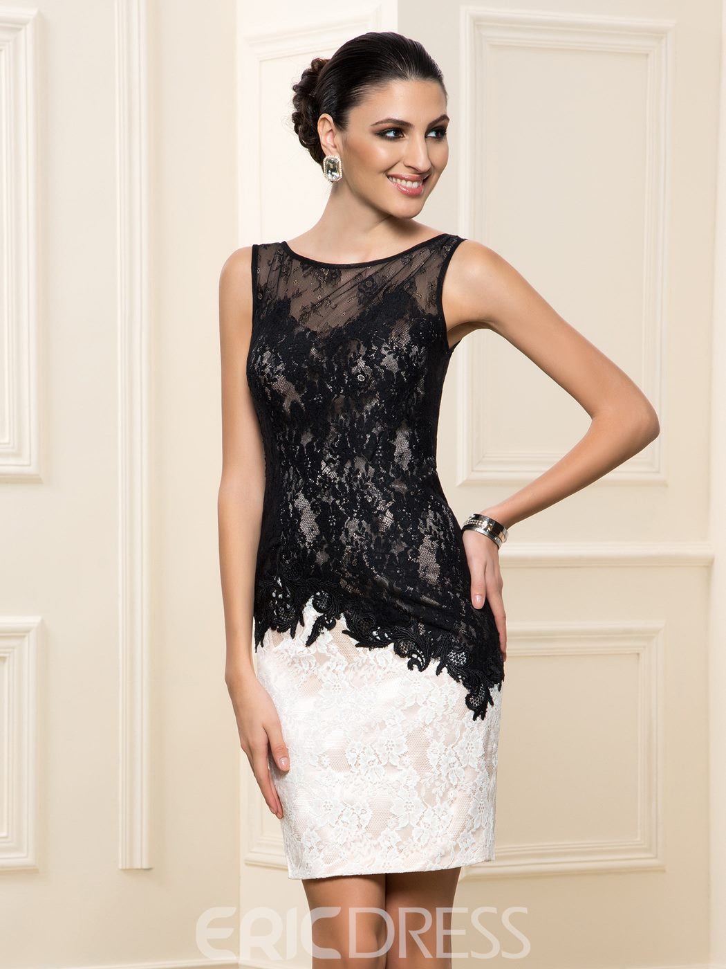Ericdress Sheath Scoop Neck Lace Cocktail Dres