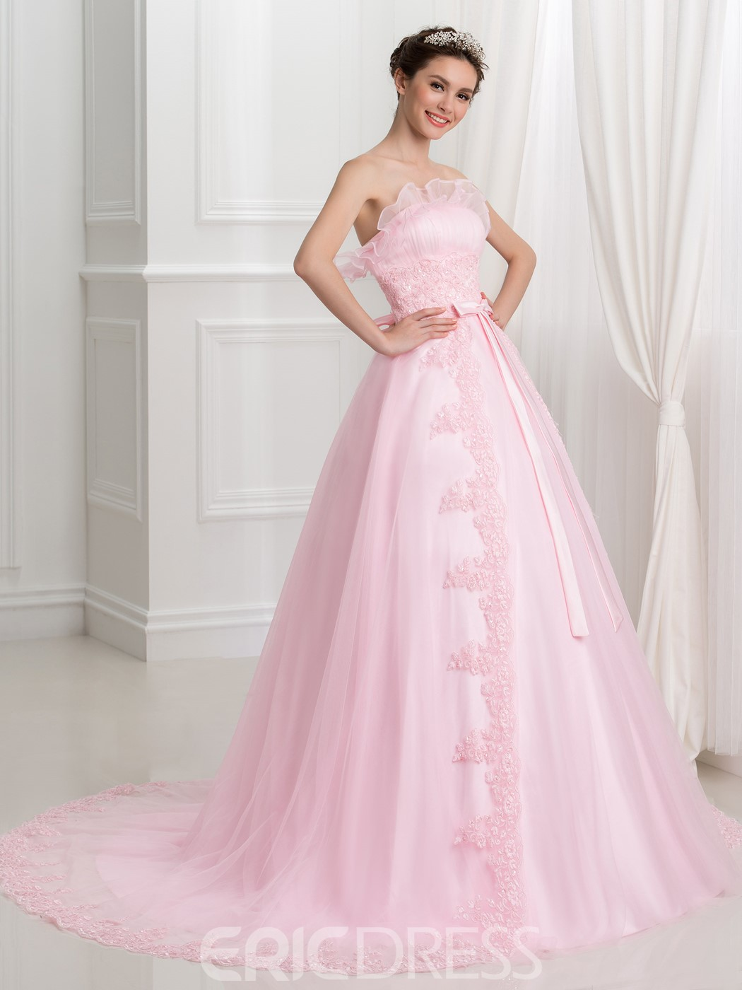 Ericdress Strapless Bowknot Appliques Sequins Ball Gown Quinceanera Dress