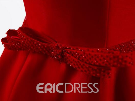 Ericdress Off the Shoulder Bowknot Beading Asymmetry Prom Dress
