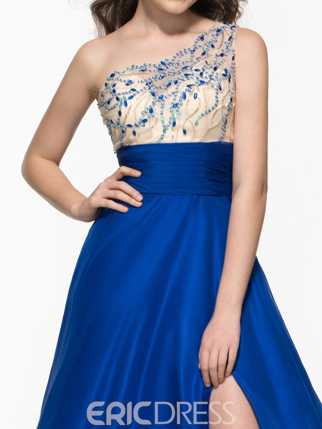 Ericdress One Shoulder Split-Front Beading Sequins Prom Dress
