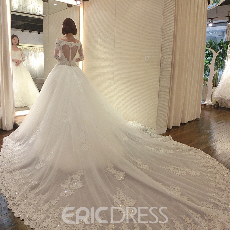 Ericdress Elegant Off the Shoulder Appliques Backless Wedding Dress