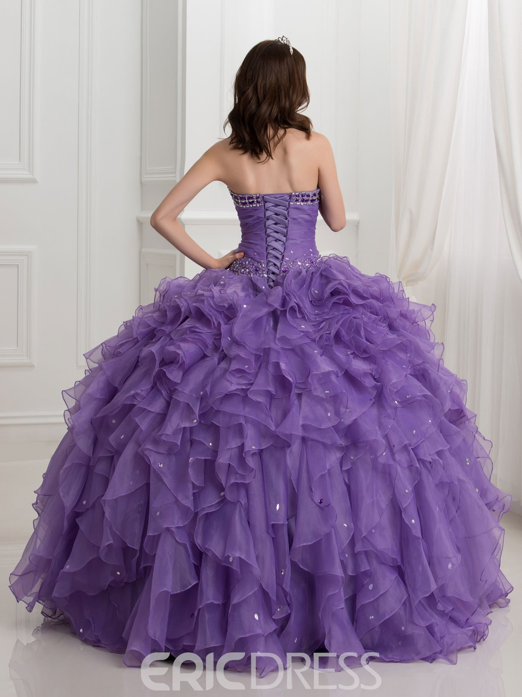 Ericdress Beading Cascading Ruffles Ball Gown Quinceanera Dress With Shawl