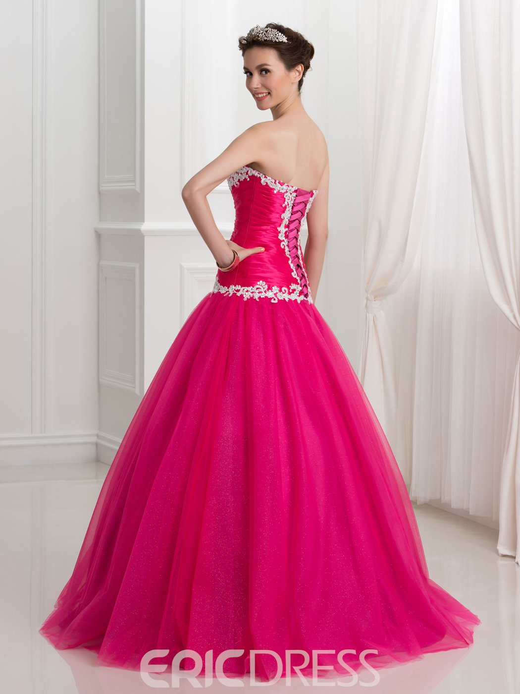 Ericdress Sweetheart Appliques Beading Pleats Quinceanera Dress