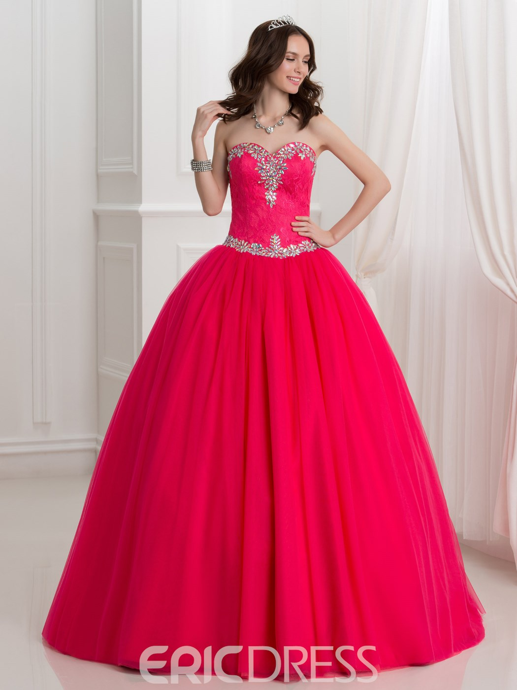 Ericdress Sweetheart Beading Lace Ball Gown Quinceanera Dress