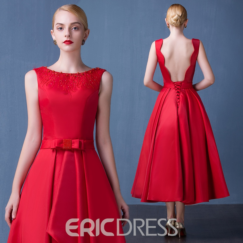 Ericdress A-Line Beading Bowknot Asymmetry Tea-Length Prom Dress