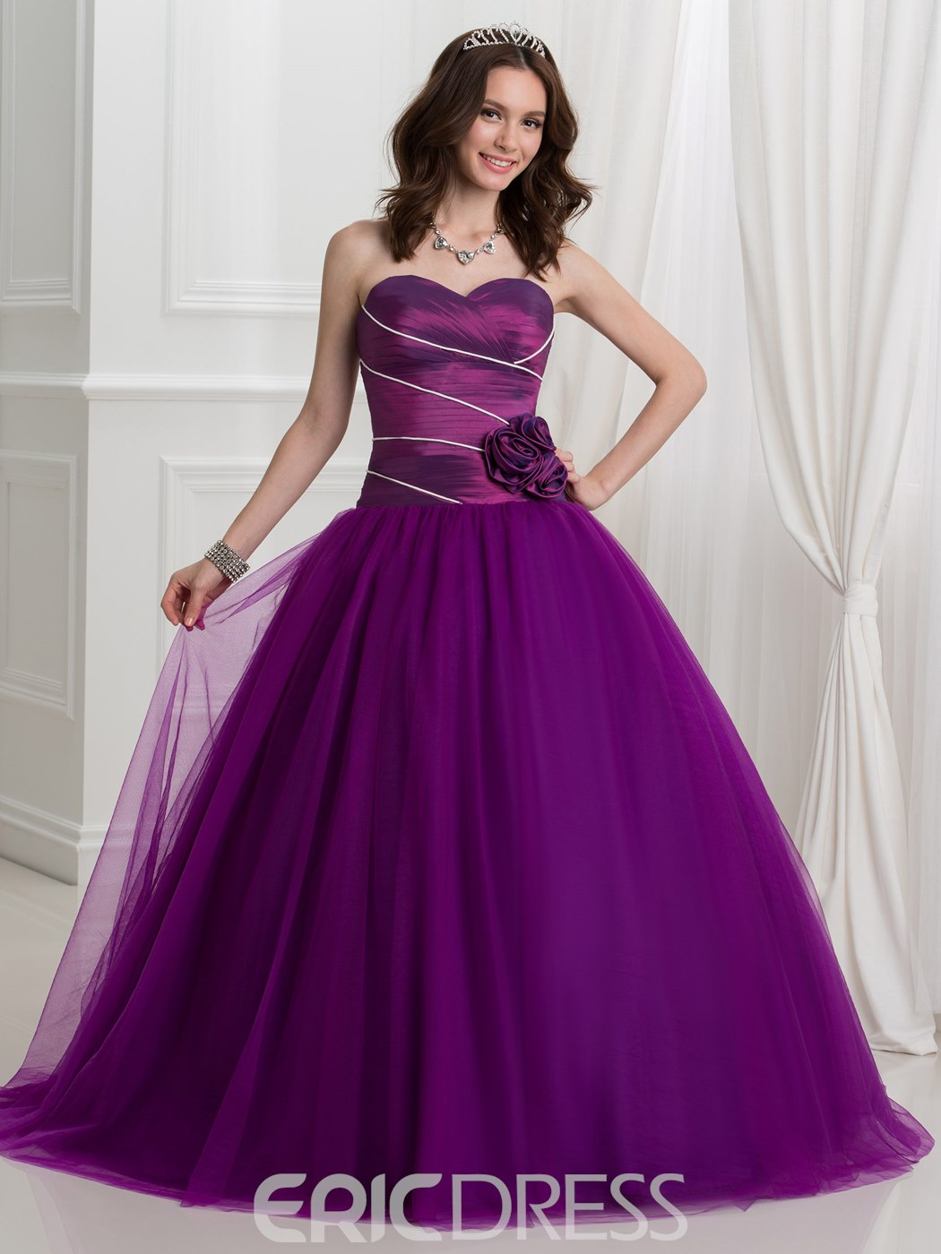 Ericdress Sweetheart Flowers Pleats Ball Gown Quinceanera Dress