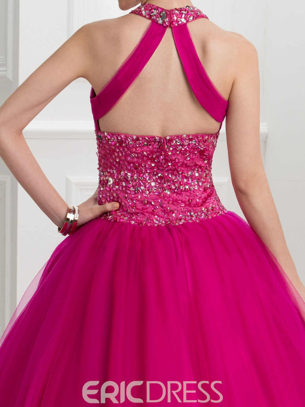 Ericdress Halter Beading Sequins Hollow Ball Gown Quinceanera