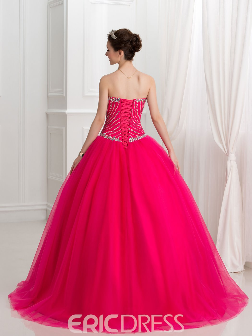 Ericdress Sweetheart Beaded Lace-Up Ball Gown Quinceanera Dress