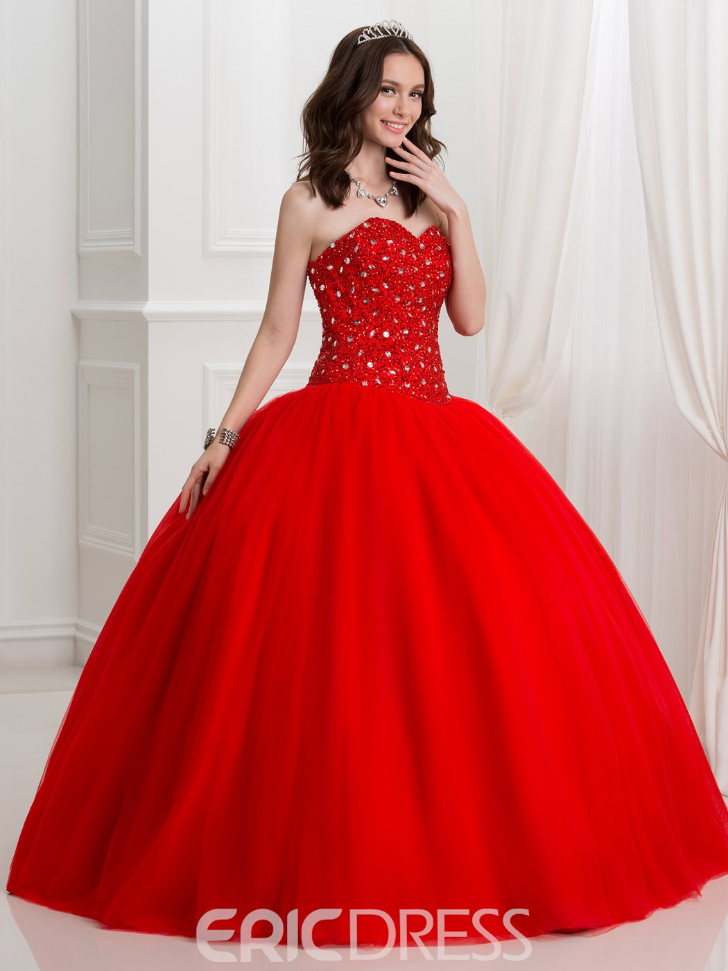 Ericdress Sweetheart Beading Sequins Ball Gown Quinceanra Dress