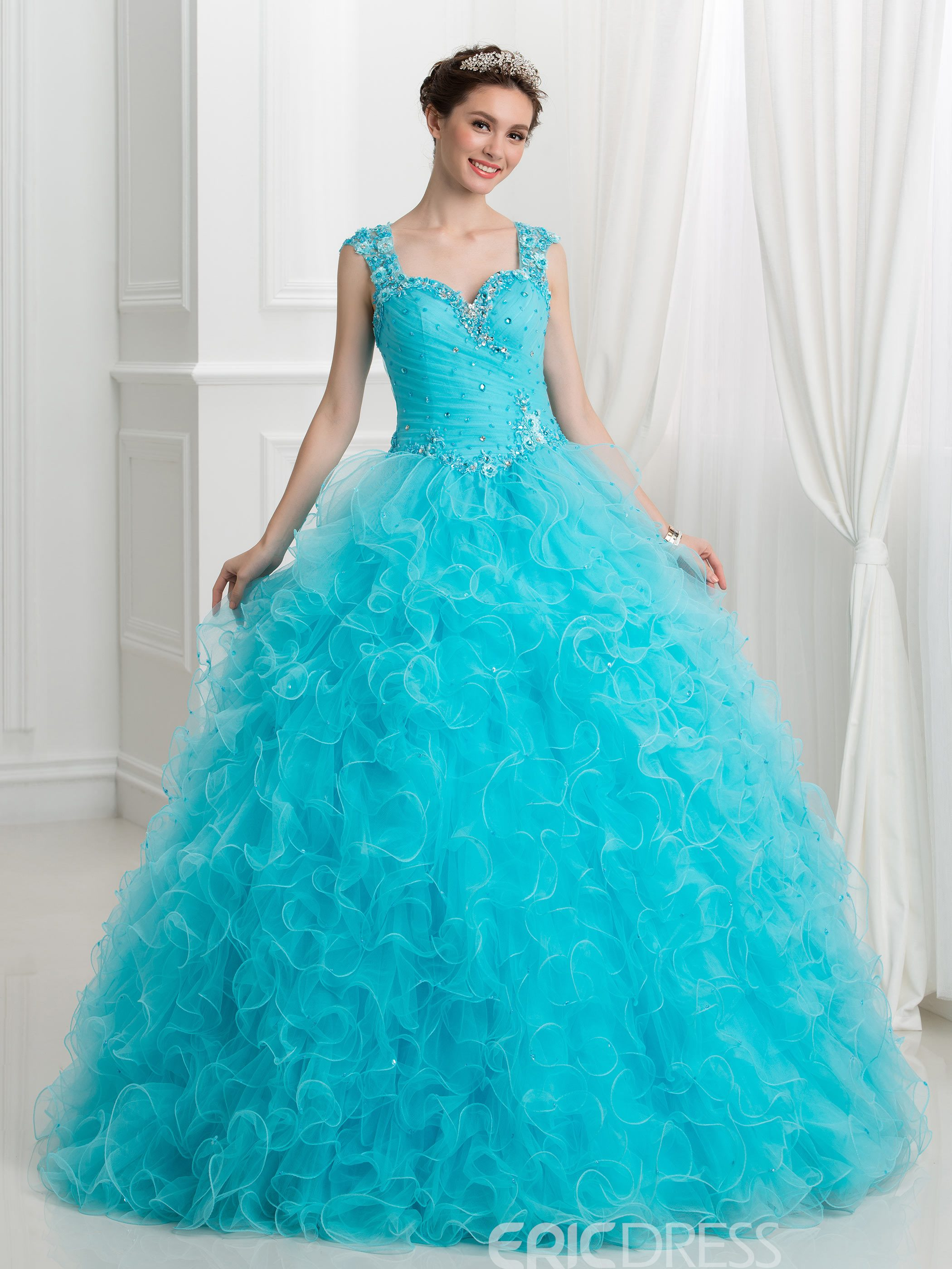 Ericdress Sweetheart Appliques Beaded Ball Gown Quinceanera Dress