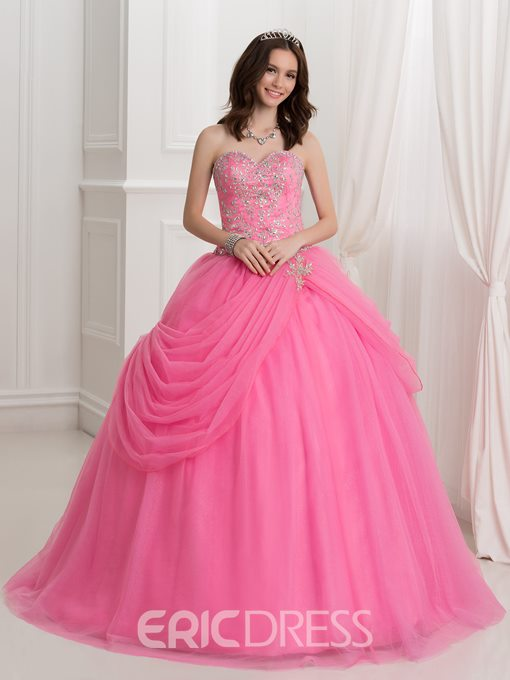 Ericdress Sweetheart Beaded Draped Ball Gown Quinceanera Dress With Jacket