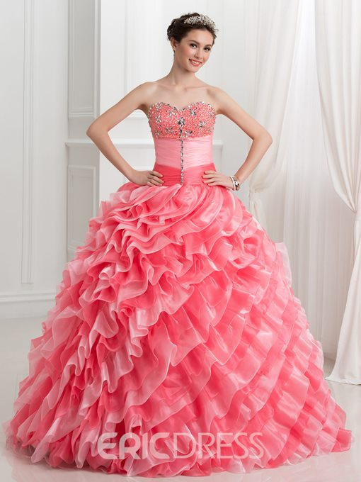 Ericdress Sweetheart Beaded Tiered Ruffles Ball Gown Quinceanera Dress With Jacket